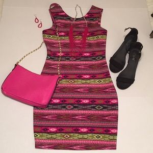 M M Couture / Aztec Print Body Con / Scuba Dress
